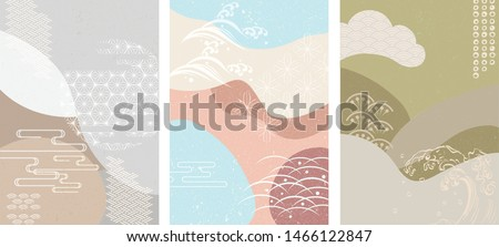Japanese template with geometric background vector. Japanese icons and pattern.