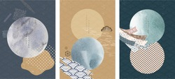Japanese template with geometric pattern vector. Watercolor texture with wave and circle elements.