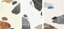 Japanese template with watercolor texture vector. Abstract art background in vintage style.
