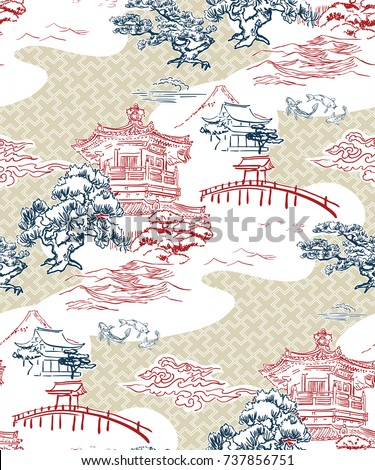 japanese temple view vector