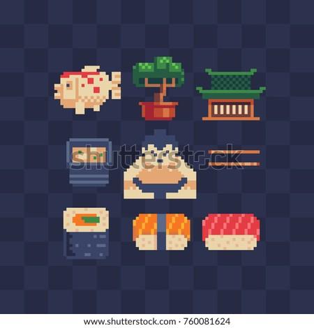 Japanese theme pixel art icons set. Flat style. Carp fish, bonsai, pagoda, miso soup, sumo player, sushi and rolls. Symbol of Japanese culture. Isolated vector illustration. 8-bit.