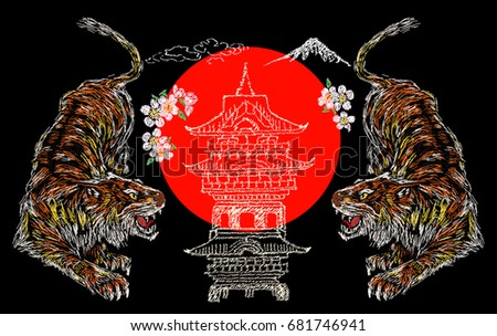 japanese tiger  flower  temple
