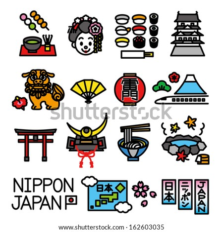 Japanese tourist attractions set