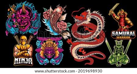 Japanese traditional colorful elements set with dragon samurai katanas torii gate koi fish bushido ninja sea waves chrysanthemum and sakura flowers isolated vector illustration