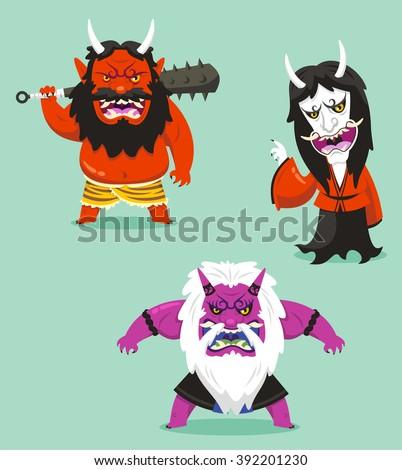 japanese traditional demon of asian folklore oni cartoon set ストックフォト ©