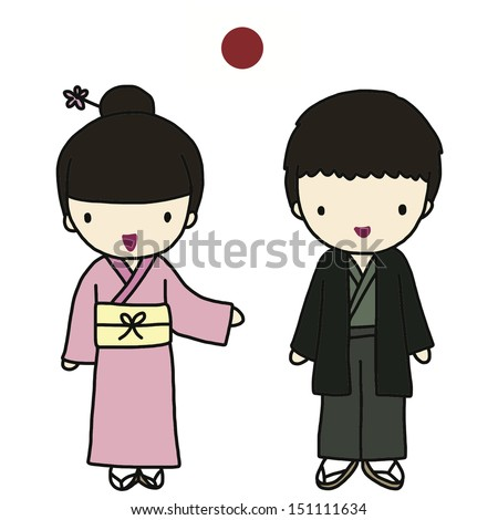 japanese traditional dress stock vector illustration