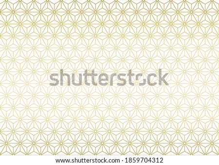 Japanese traditional pattern. Gold color background vector illustration. ストックフォト ©