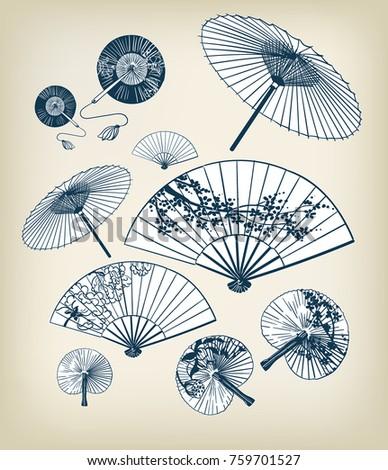 japanese traditional vector illustration set umbrellas and funs design elements