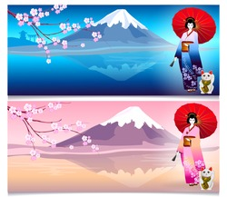 Japanese travel banners with landmarks and symbols: Geisha and japanese cherry sakura and Mount Fuji. Cat holding a coin with hieroglyph