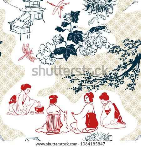 japanese vector pattern tea