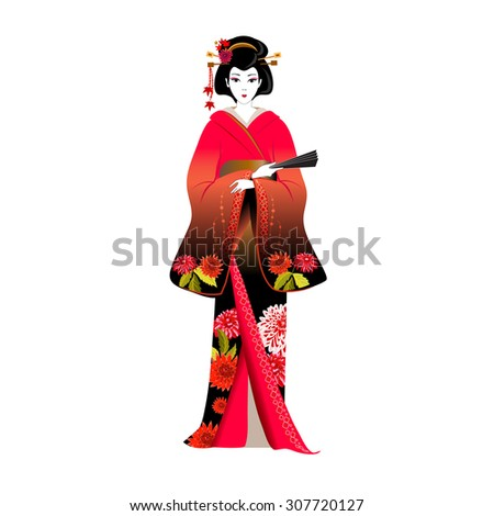 japanese woman in a red kimono