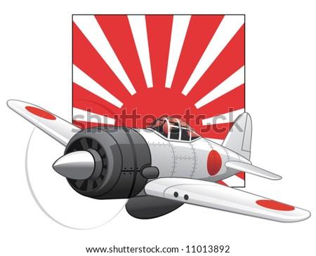 japanese ww2 plane on a rising sun background
