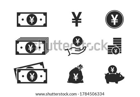 japanese yen banknotes, coins, cash and money icons. financial and banking infographic elements and symbols for web design