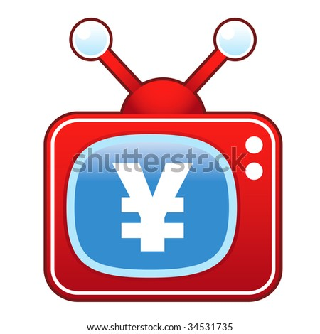 Japanese yen currency icon on retro television set
