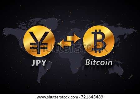 Japanese Yen to Bitcoin currency exchange infographic template on world map background
