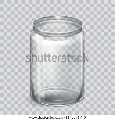 Jar for canning and preserving. Vector Illustration isolated. Empty transparent glass jar. Round Shape Glass Canister. Eps 10