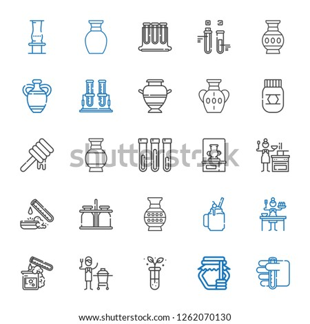 jar icons set. Collection of jar with test tube, honey, ceramic, sauce, smoothie, vase, milk jar, test tubes. Editable and scalable jar icons.