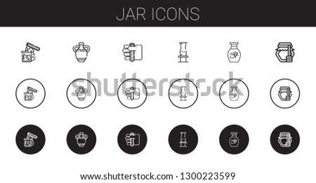jar icons set. Collection of jar with test tube, vase, honey. Editable and scalable jar icons.