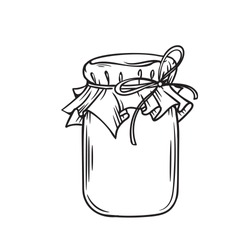 Jar of honey or glass jar, outline vector. Retro style.