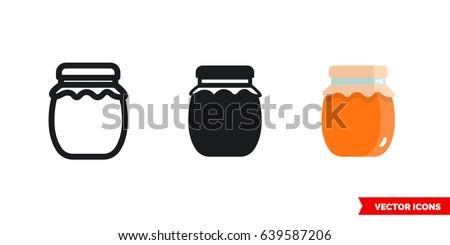 jar of jam icon of 3 types