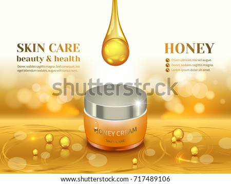Jar of organic cream with golden honey, 3d composition on textured glowing yellow background.Design cosmetic product advertising, blur and bokeh background, sparkling effect.