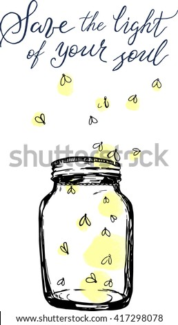 jar with fireflies and