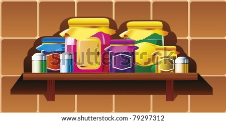 Jars and cans on the kitchen shelf.