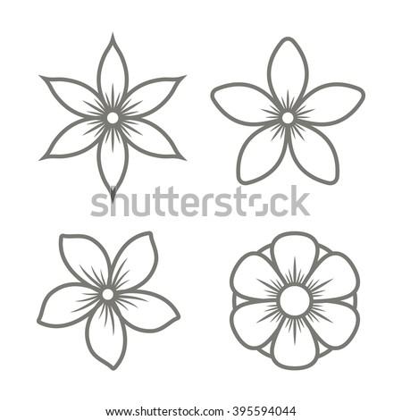jasmine flower icons set on
