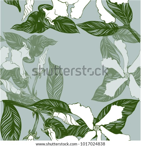 Jasmine - flowers, buds, leaves. Seamless background. Vector image. Wallpaper. Use printed materials, decoupage maps, posters, postcards, packaging. - Shutterstock ID 1017024838