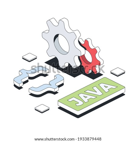 Java development, cog gears, abstract elements. Vector 3d line isometric, color web icons, new flat style. Creative illustration, design idea for infographics. Foto stock ©