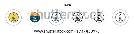 Java icon in filled, thin line, outline and stroke style. Vector illustration of two colored and black java vector icons designs can be used for mobile, ui, web Foto stock ©