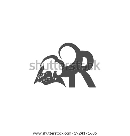 Javanese puppet icon with letter R logo design vector Stock fotó ©