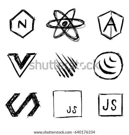 Javascript framework vector icons in a hand doodled style.