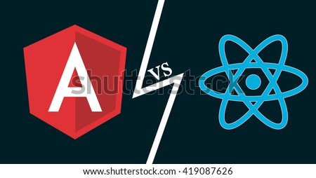 Javascript frameworks icons. Angular vs react. Vector illustration for web development, frontend software, js coding.