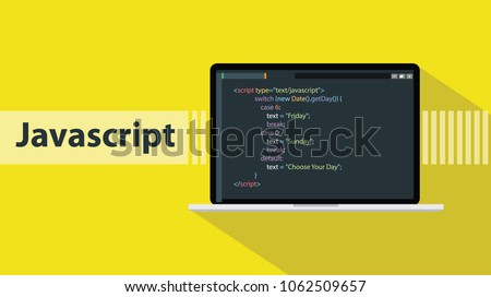javascript programming language with script code on laptop screen