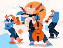 Jazz band playing music at festival, concert or perform on stage. Musicians play musical instruments - saxophone, drums, trumpet, double bass. Vector character illustration of entertainment artists
