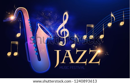 Jazz Concert. Music Design Element with Saxophone, Notes and Swirling Stave with Light Effects. Vector illustration