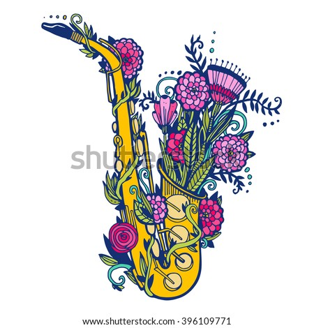 jazz day drawn by hand with
