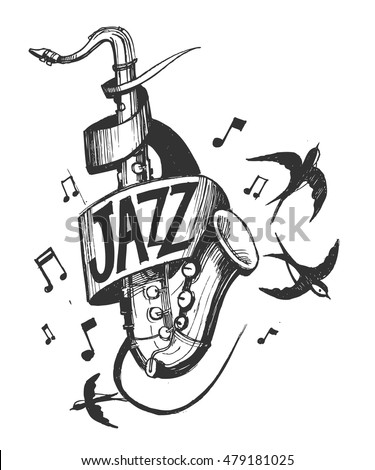 Jazz emblem with a saxophone and swallows. Vector illusrtation