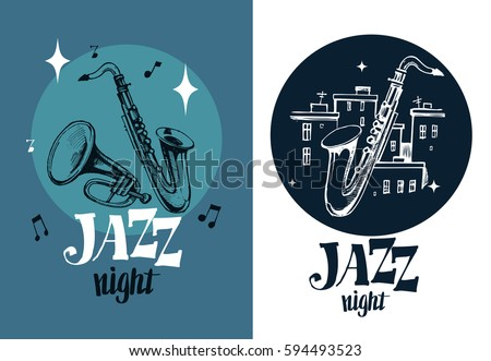 Jazz emblem with a saxophone and trumpet. Isolated vector illustration. Design element for the create of the label, brochures, posters