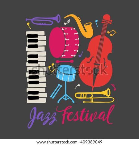 jazz festival placard piano