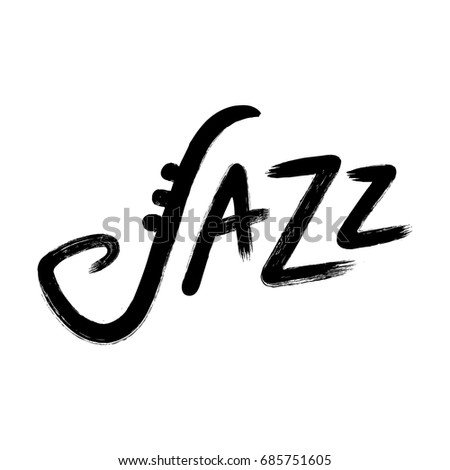 Jazz hand lettering, ink brush calligraphy. Rough handwritten vector sign with stylized saxophone symbol.