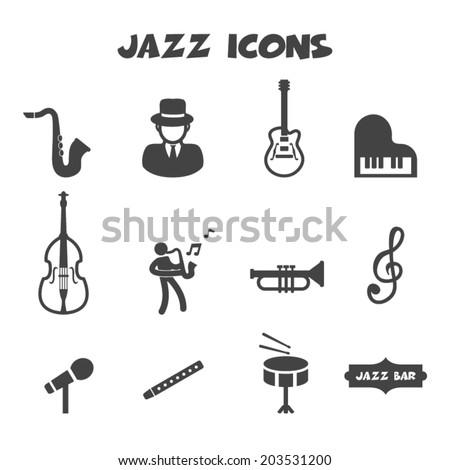 jazz icons, mono vector symbols