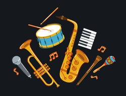 Jazz music band concept different instruments vector flat illustration on dark background, live sound festival or concert, musician different instruments set.