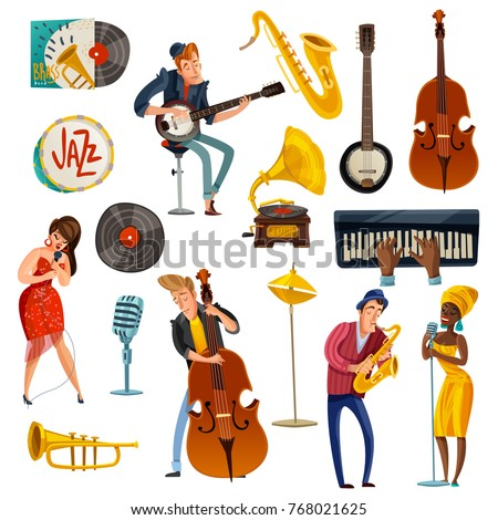 jazz music cartoon set with