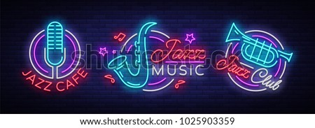 jazz music collection neon...