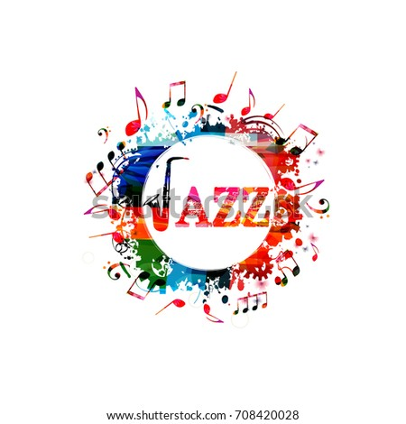 Jazz music colorful banner with saxophone. Jazz music word with saxophone and music notes isolated vector illustration