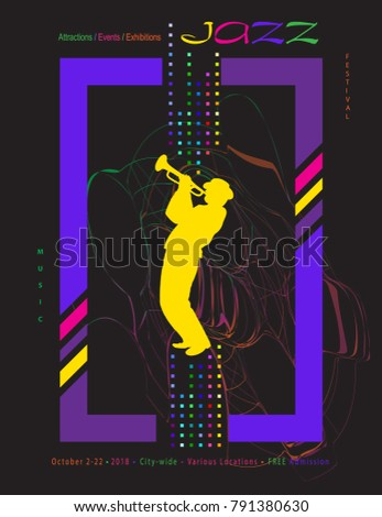 Jazz Music Festival abstract dynamic color shapes poster. Colorful modern art invitation vector template for Attractions, Events and Exhibitions with musician saxophone player, silhouette, club party.