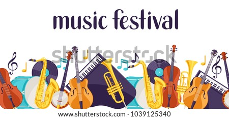 Jazz music festival banner with musical instruments.