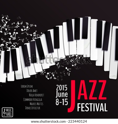 Jazz music festival poster background template keyboard with music notes Layers background texture keyboard text Vector design